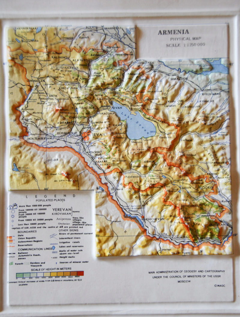 Armenia-map topographical